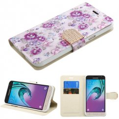 Samsung Galaxy J3 Fresh Purple Flowers Diamante Wallet with Diamante Belt