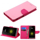 LG G5 Pink Pattern/Hot Pink Liner Wallet with Card Slot
