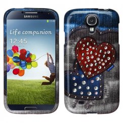 Samsung Galaxy S4 Blue Jean Hearts Case with Studs