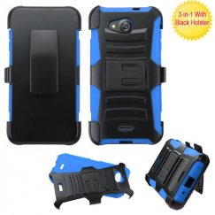 Kyocera Wave / Hydro Air Black/Blue Advanced Armor Stand Case with Black Holster
