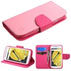 Motorola Moto E 2nd Gen Pink Pattern/Hot Pink Liner Wallet with Card Slot