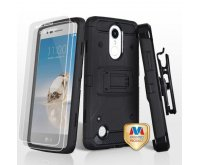 Black/Black 3-in-1 Kinetic Hybrid Protector Cover Combo (with Black Holster)(Twin Screen Protectors)