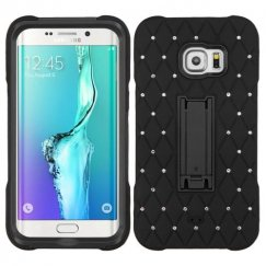Samsung Galaxy S6 Edge Plus Black/Black Symbiosis Stand Case with Diamonds