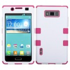 LG Splendor / Venice Ivory White/Hot Pink Hybrid Case