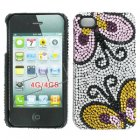 Apple iPhone 4/ 4S Full Diamond Crystal Couture Rhinestone Back Cover, Butterflies pattern