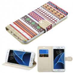 Samsung Galaxy S7 Edge Ethnic Customs Diamante Wallet with Diamante Belt