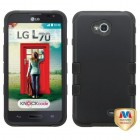 LG Optimus L70 Rubberized Black/Black Hybrid Case