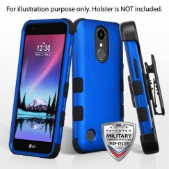 LG K10 Titanium Dark Blue/Black Hybrid Case Military Grade with Black Horizontal Holster