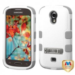 Samsung Galaxy Light Natural Cream White/Iron Gray Hybrid Case with Stand