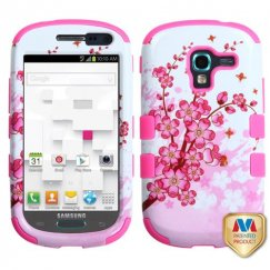 Samsung Galaxy Exhibit Spring Flowers/Electric Pink Hybrid Case