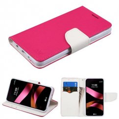 LG X Style / Tribute HD Hot Pink Pattern/White Liner wallet with Card Slot