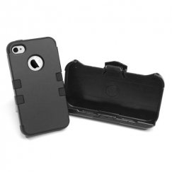 Apple iPhone 4/4s Rubberized Black/Black Hybrid Case with Black Holster