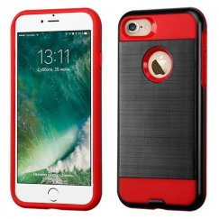 Apple iPhone 7 Black/Red Brushed Hybrid Case