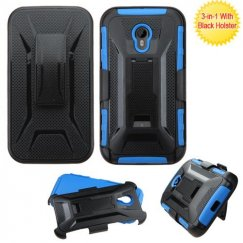 Motorola Moto G Black/Dark Blue Advanced Armor Stand Case with Black Holster