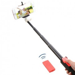Pink Selfie Stick (with Black Mobile Monopod)(for iOS & Android)
