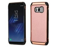 Samsung Galaxy S8 Rose Gold Lychee Grain(Rose Gold Plating)/Black Astronoot Protector Cover