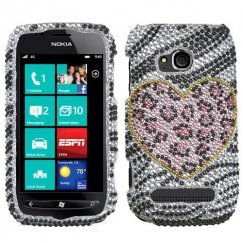 Nokia Lumia 710 Playful Leopard Diamante Case