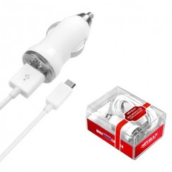 MICRO USB White Car Charger with USB Port (2-in-1)