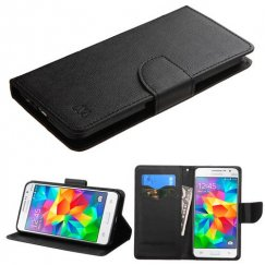 Samsung Galaxy Grand Prime Black Pattern/Black Liner wallet with Card Slot