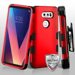 LG V30 Titanium Red/Black Hybrid Case Military Grade with Black Horizontal Holster