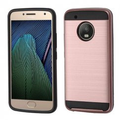 Motorola Moto G5 Plus Rose Gold/Black Brushed Hybrid Case