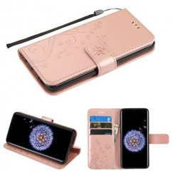 Samsung Galaxy S9 Plus Rose Gold 3D Butterfly Flower Wallet(IM022) -NP