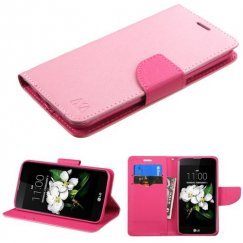 LG K7 Pink Pattern/Hot Pink Liner Wallet with Card Slot
