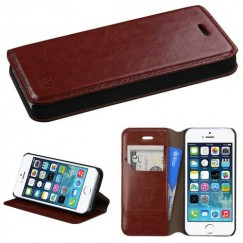 Apple iPhone 5/5s Brown Wallet with Tray