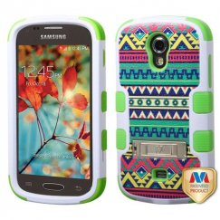 Samsung Galaxy Light Tribal Sun/Electric Green Hybrid Case with Stand