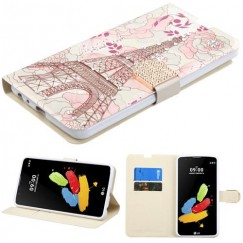 LG G Stylus 2 Eiffel Tower Diamante Wallet with Diamante Belt