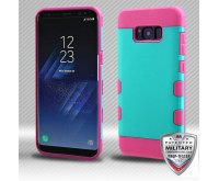 Samsung Galaxy S8 Plus Rubberized Teal Green/Electric Pink Hybrid Protector Cover [Military-Grade Certified]