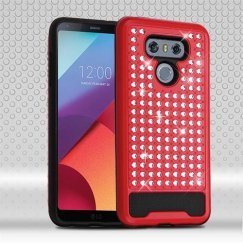 LG G6 Red/Black Diamante FullStar Case