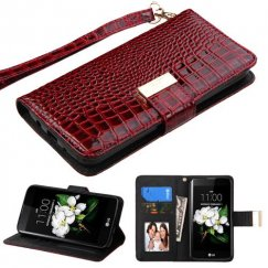 LG K7 Burgundy Crocodile-Embossed Wallet