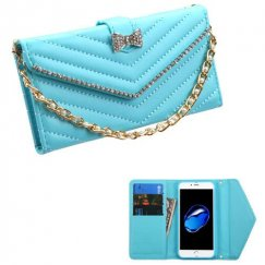 Apple iPhone 8 Baby Blue Premium Quilted Wallet with Bracelet