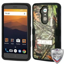 ZTE Blade Max 3 / Max XL Oak Leaves-Hunting Camouflage Collection/Black Hybrid Case with Stand