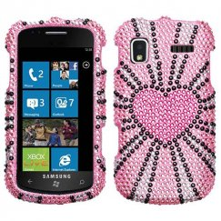 Samsung SGH-i917 Focus Fervor Heart Diamante Case