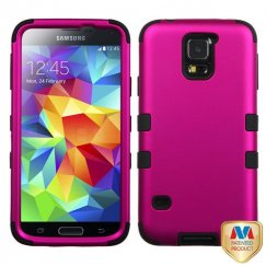 Samsung Galaxy S5 Titanium Solid Hot Pink/Black Hybrid Case