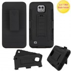 LG X Cam K580 Black/Black Advanced Armor Stand Protector Cover Combo (with Black Holster)