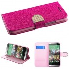 HTC One M8 Hot pink Glittering Wallet with Diamante Belt
