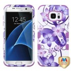 Samsung Galaxy S7 Edge Purple Hibiscus Flower Romance/Electric Purple Hybrid Phone Protector Cover