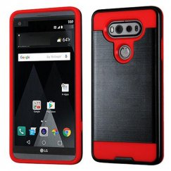 LG V20 Black/Red Brushed Hybrid Case