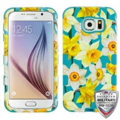 Samsung Galaxy S6 Spring Daffodils/Tropical Teal Hybrid Case Military Grade
