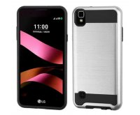 LG X Style / Tribute HD Silver/Black Brushed Hybrid Protector Cover