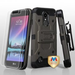 LG K10 Dark Grey/Black 3-in-1 Kinetic Hybrid Case Combo with Black Holster and Tempered Glass Screen Protector