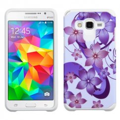 Samsung Galaxy Grand Prime Purple Hibiscus Flower Romance /White Advanced Armor Case