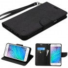 Samsung Galaxy J7 Black Pattern/Black Liner wallet with Lanyard
