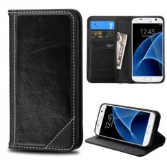 Samsung Galaxy S7 Black Genuine Leather Wallet
