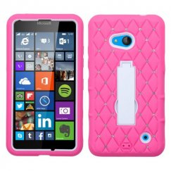 Nokia Lumia 640 White/Hot Pink Symbiosis Stand Case with Diamonds