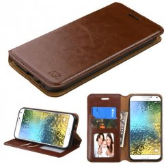 Samsung Galaxy E5 Brown Wallet with Tray