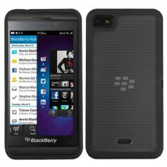 Blackberry Z10 Horizontal Stripes Transparent Smoke/Solid BlackGummy Cover